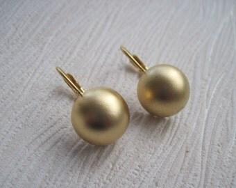 Gold Earrings, Gold Circle Earrings, Gold Leverback Earrings