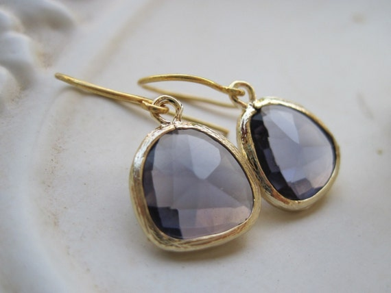 RESERVED FOR AMBER Tanza Purple Glass Stone Earrings