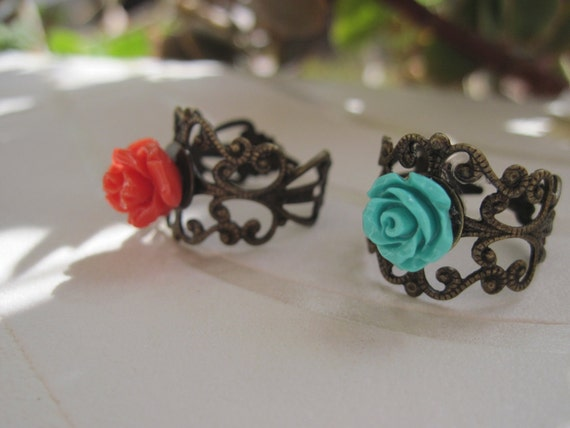 Special Price - 2 Romantic Rose Rings - Tuquoise and Coral Red