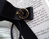 Small Bookworm - Faux Clock Button, Black Ribbon