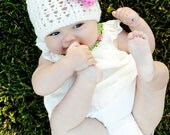 Newborn Pink and White Crochet Beanie (choose your own colors)
