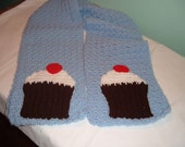 Crochet Blue Scarf with Cupcakes