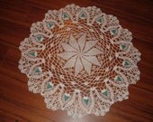 Crocheted White Doily with Teal Green Beads