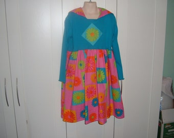 ON SALE Turquoise/Pink Knotted Hoodie Dress