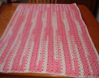 Crochet  Blanket for Baby in Pink and White