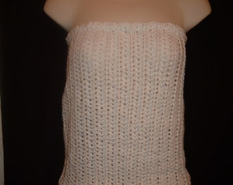 Crochet Beaded Top in White