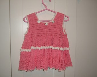 Pink/White Crocheted Baby Dress