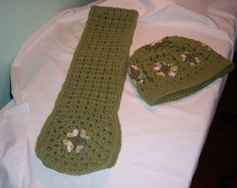 Ladies Crochet Hat and Scart Set in Green