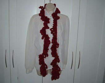 Ladies Crochet Loop Scarf in Dark Red