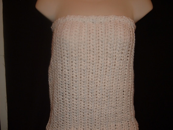 Crochet Beaded Top in White