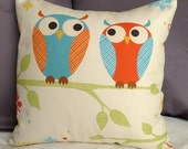 Pair of Owls on Branch 16 X 16 Inch Pillow Cover