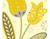 Yellow and Gray Tulips 5 X 7 Art Print