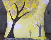Gray and Yellow Landscape Pillow Cover 16 X 16 inches