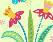 Daffodils and Butterfly Art Print