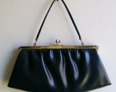 Purse in Navy with Snap Closure 1950