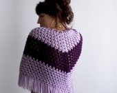 Vtg 70s Poncho in Lilac and puple OS