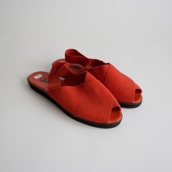 Red Elastic 1980's Peep Toe Sandal size 10