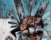 "Primitive Bug Print - 13""x19"" - Jesse Reno -  His Actions Go Unseen"