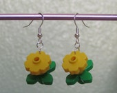 Yellow flower dangle earrings - sterling silver upgrade available