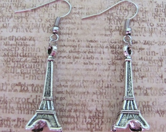Tibetan Silver 3D Eiffel Tower charm earrings - sterling silver upgrade available