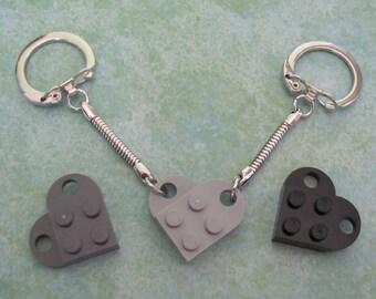 SALE 2 Friendship keychains sharing 1 Black or Dark Gray heart LAST CHANCE