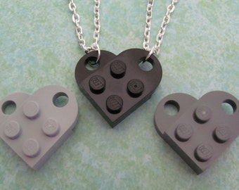 SALE 2 silver necklaces sharing 1 black or gray heart LAST CHANCE