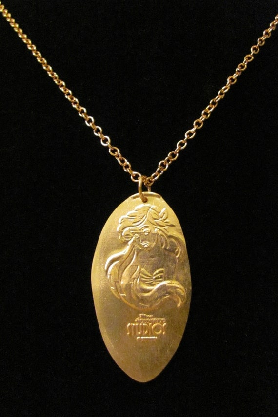 RETIRED Disney World Ariel pressed penny pure copper necklace - LAST ONE