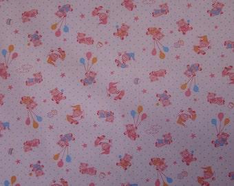 2 yards Pink Teddy Bears
