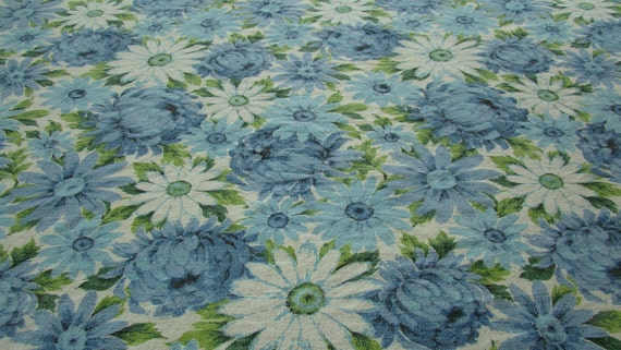 70s Blue Floral Tablecloth