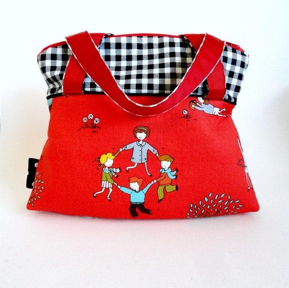 red handbag kawaii gingham moda aneela hoey FREE US SHIPPING