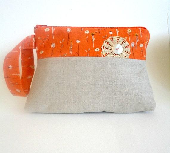 linen wristlet kokka orange crochet doily modern vintage