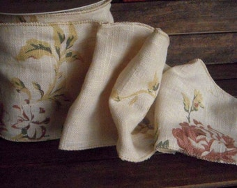 Floral Ribbon, Vintage French Floral on Linen - wired ribbon - by the 10 yard roll