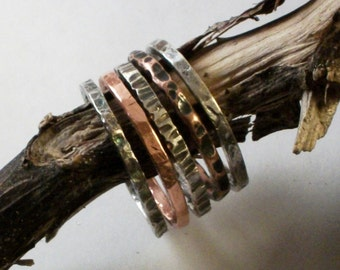 Stacking Rings - Forged Copper and Sterling