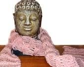 Neck Scarf / Light Pink Silver Sparkles / Fashion / Elegant / Handmade / Knit