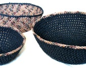 Reflecting Pond Toasted Almond Crochet Nesting Bowls / Home Decor / Interior Storage / Organization