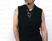 Men's black wool waistcoat. Asymmetrical design size 40- 42 inch chest.