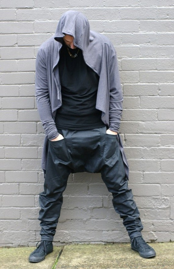 Menu0026#39;s Military Style Drop-Crotch Pants in Black coated