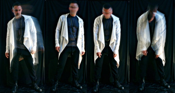 Men's casual long sleeve hoodie -ice white cotton poly Price Drop Reduced Sale