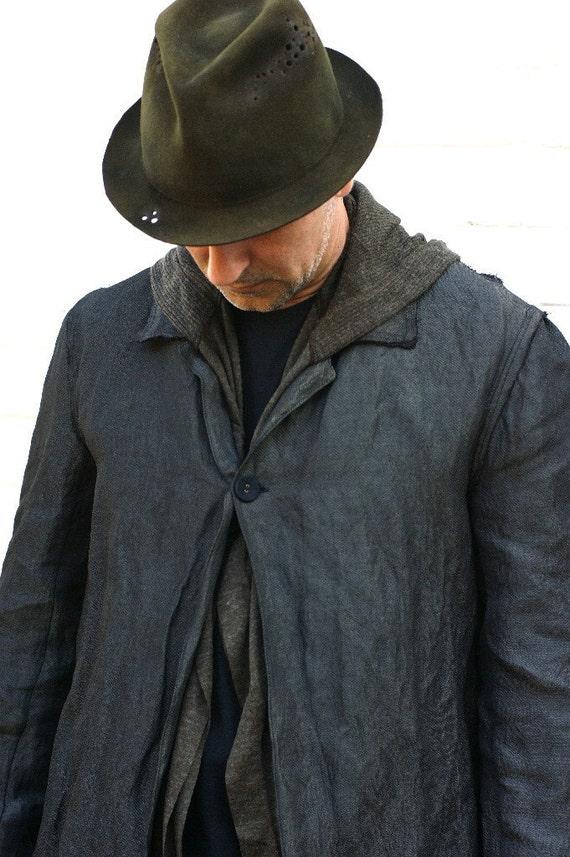 Men's Black Cotton Lab Coat Cotton/ Metal Blend