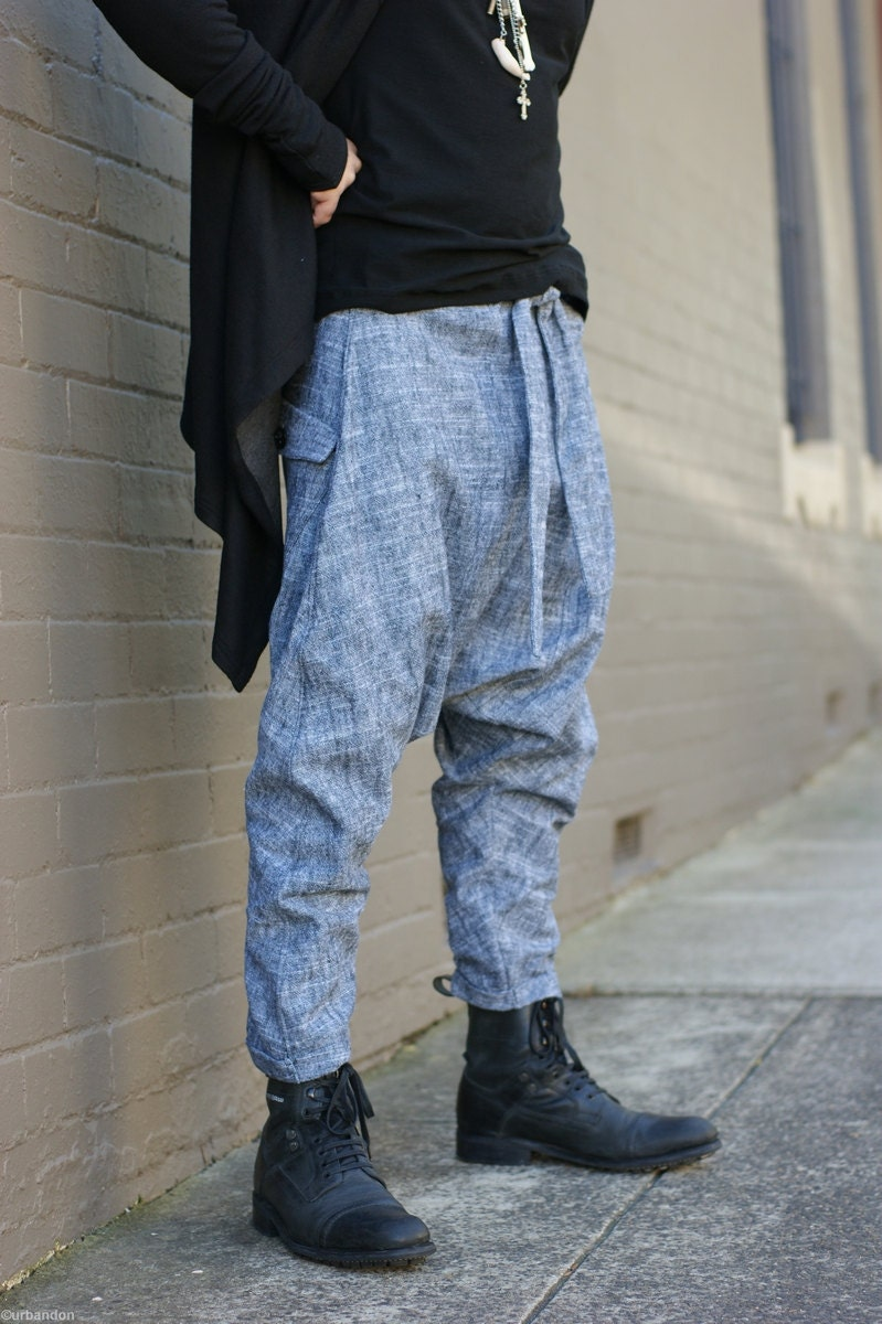 Men S Military Drop Crotch Pants In Linen Cotton With
