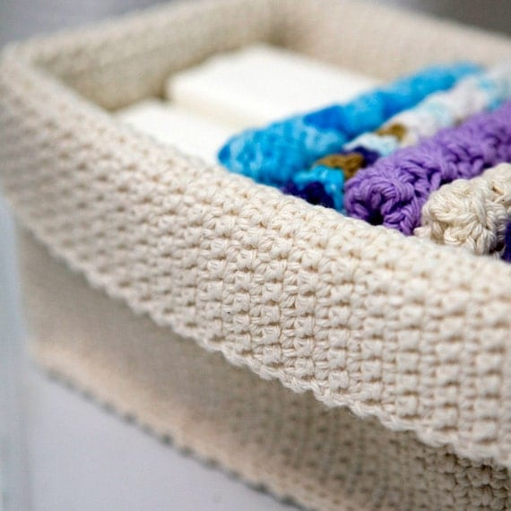 Rectangle Crochet Basket Natural by TheCreativeGene on Etsy