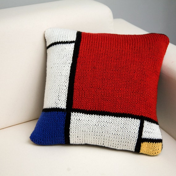 Modern Knitted Pillow : Items similar to De Stijl - 17x17 Modern Art Hand Knit Pillow - In Stock on Etsy