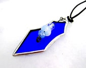 SALE Blue Bell Pendant Glass Necklace Vintage Rhinestone Mothers Day Gifts Birthday Wedding OOAK