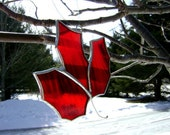 Canadian Maple Leaf Red Stained Glass Ornament Expats Autumn Fall Christmas Souvenir Mothers Day Valentines Graduation Original Design©