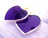 purple Plum Hearts Stained Glass Shabby Twins Sisters Suncatchers Ornament Valentines Mothers Day Easter Gifts Wedding Favors I Love You