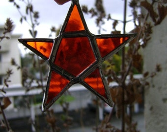 Star Pentagram Suncatcher Pagan Wicca Pentacle Halloween Christmas Yule Winter Solstice Stained Glass Birthday Wedding
