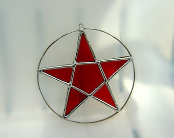 Pentagram Valentine Halloween Samhain Stars Pentacle Stained Glass Wicca Witch Pagan Yule Goddess Magic Home Birthday Original Design©