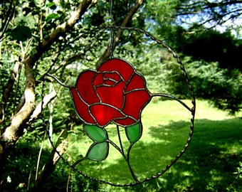 Valentines Red Rose Stained Glass Yule Flowers Christmas Flowers Suncatchers Housewarming Anniversary Yule Gift