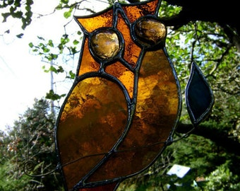 Owl Stained Glass Suncatcher Birds Mothers Day Christmas Yule Wise Valentines Birthday Halloween Housewarming Original Design©