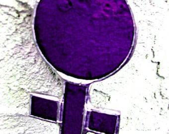 Goddess Venus Female Purple Mothers Day Woman Feminist Pride Stained Glass Suncatcher Birthday Original Design©